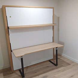 Wall bed folded away