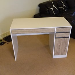 Straight desk with drawers and cupboard