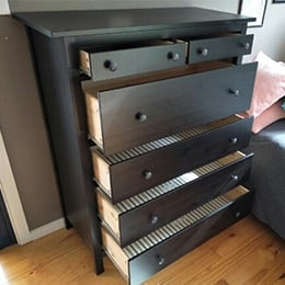 Dresser with open drawers