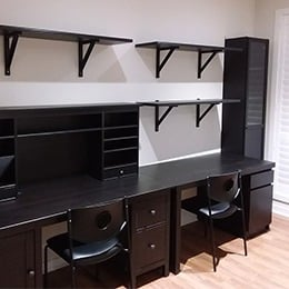 Office desks with shelving and storage