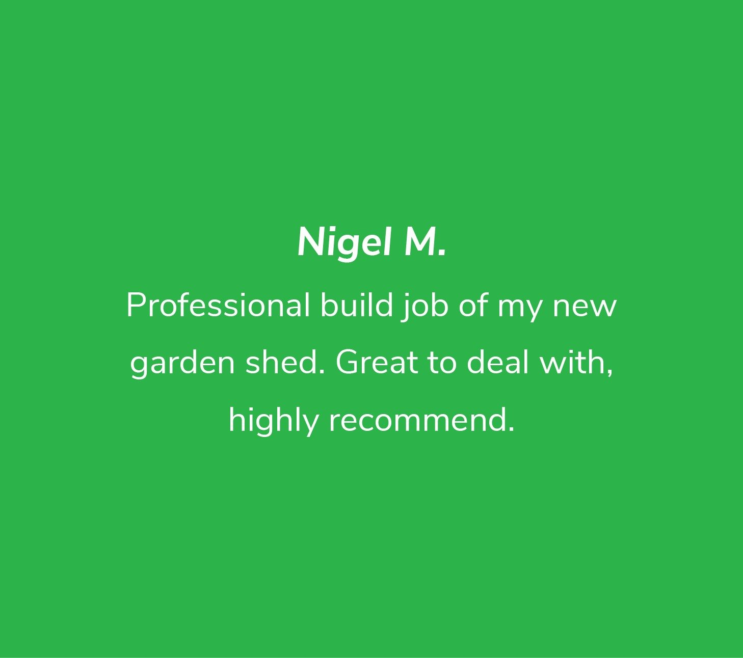 Customer review from Nigel M