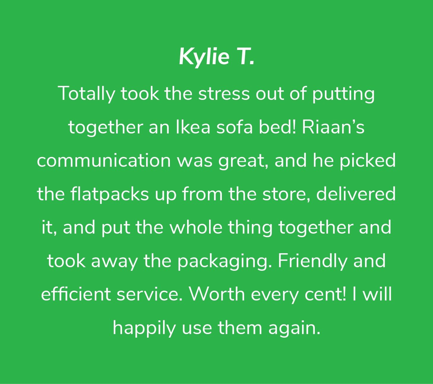 Customer review from Kylie T