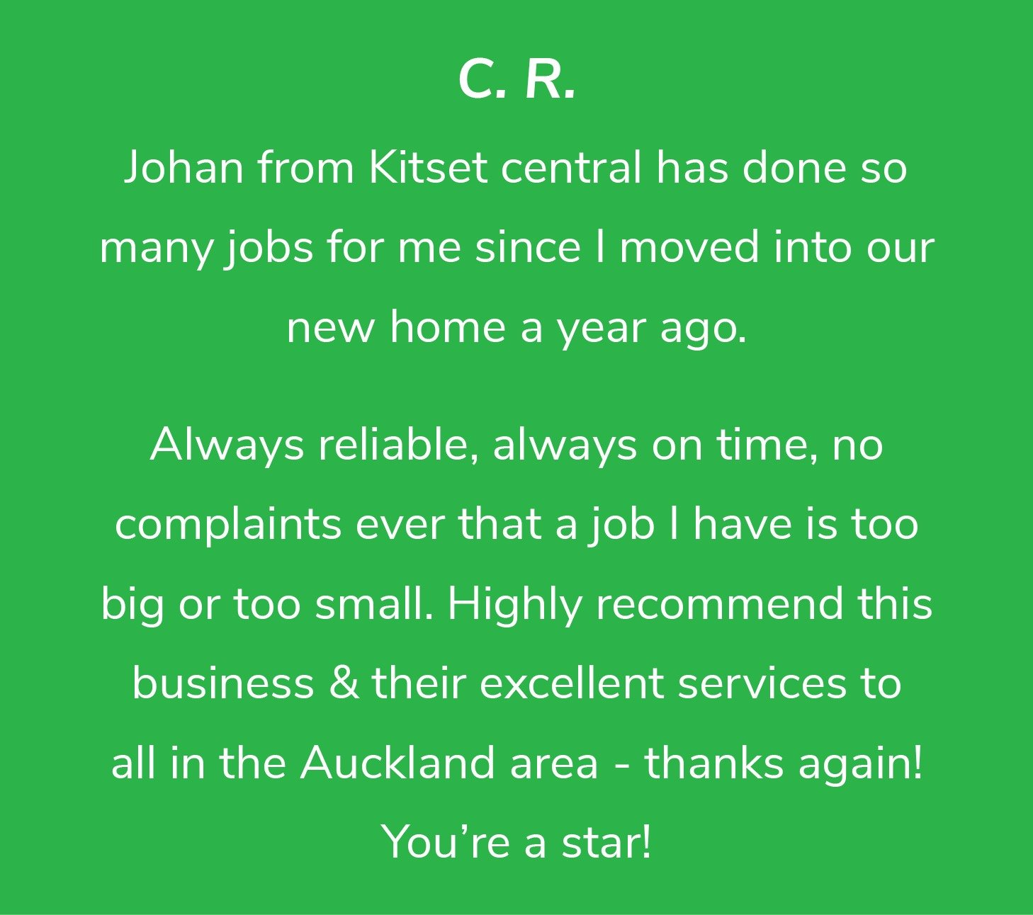 Customer review from C.R.