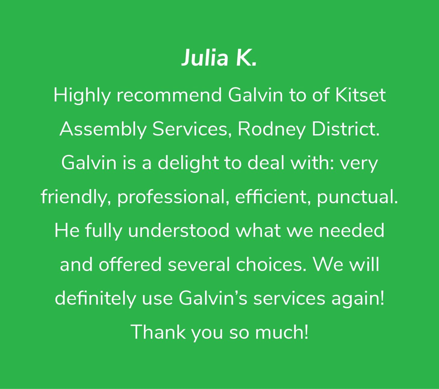 Customer review from Julia K