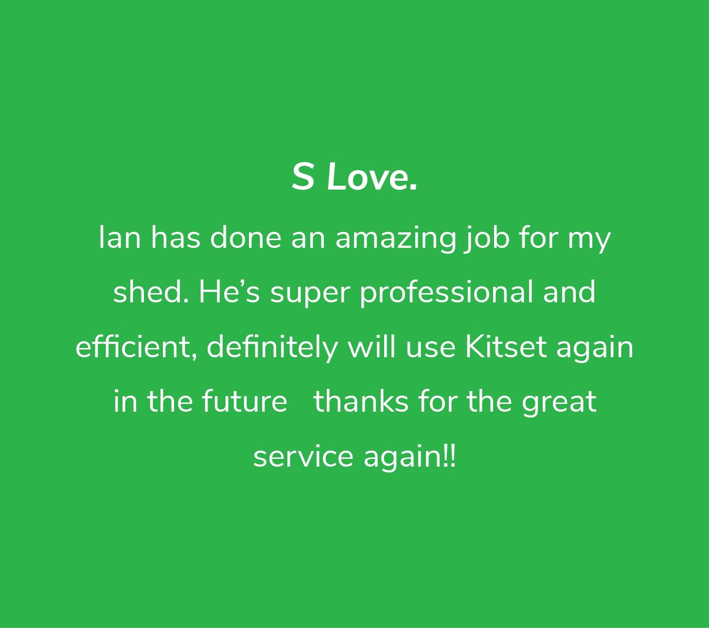 Customer review from S Love