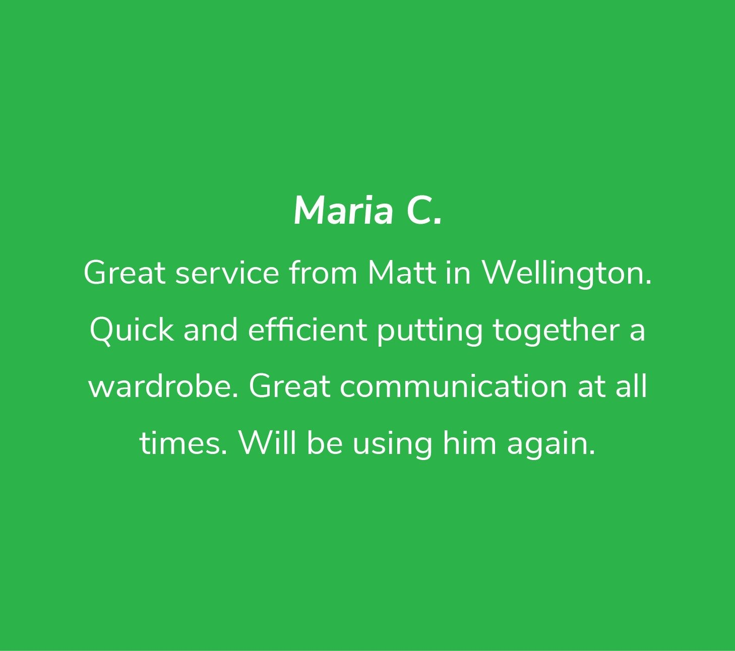 Customer review from Maria C